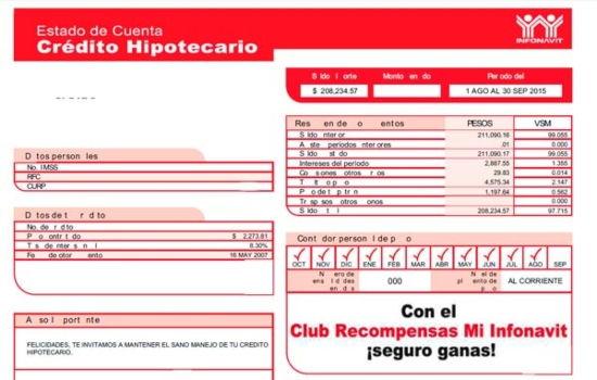 Estado de Cuenta Infonavit Ejemplo mensual