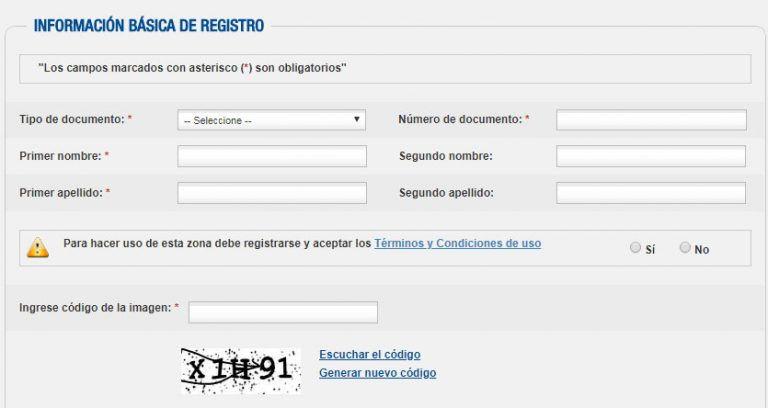 Formulario de registro para Colpensiones
