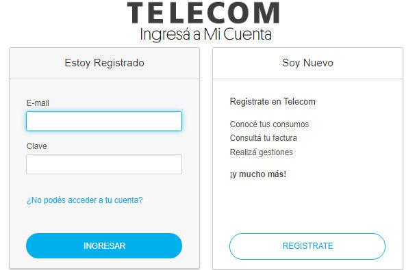 Ingreso a la página de Telecom