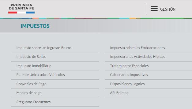 Portal web del Gobierno de Santa Fe