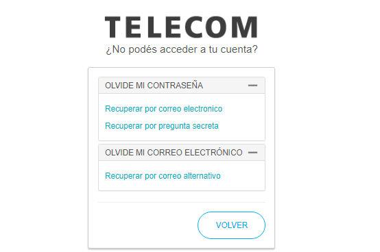 Recuperación de clave en Telecom