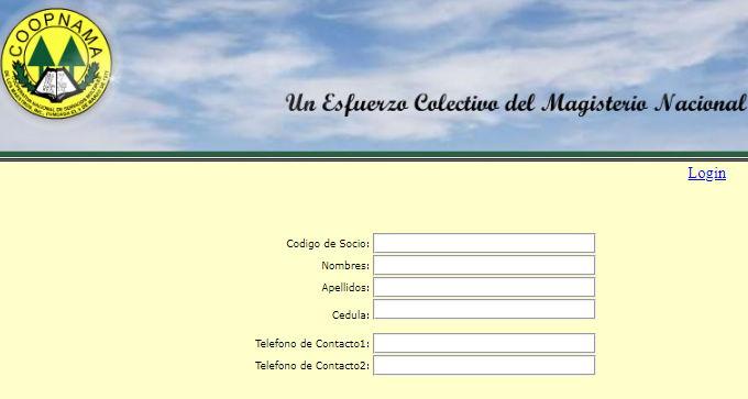Sistema de registro en la página de la Cooperativa de Maestros