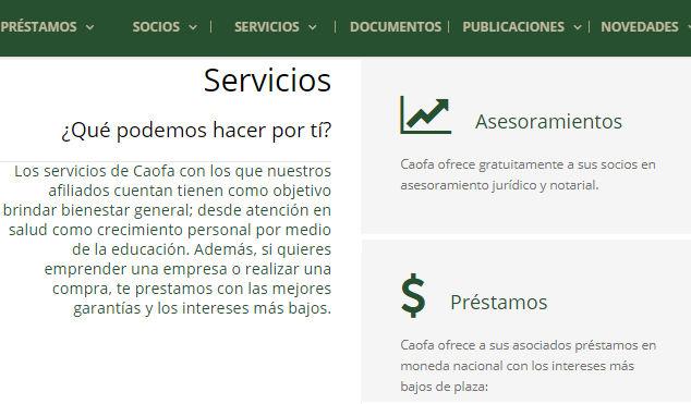 Página web de Caofa