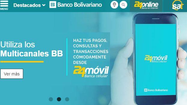 Página web del Banco Bolivariano