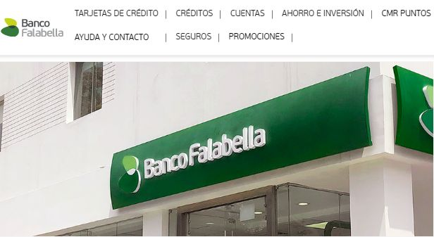 Página web del Banco Falabella