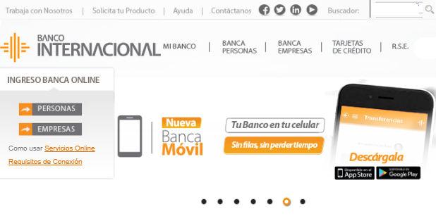 Página web del Banco Internacional