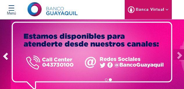 Página web del Banco de Guayaquil